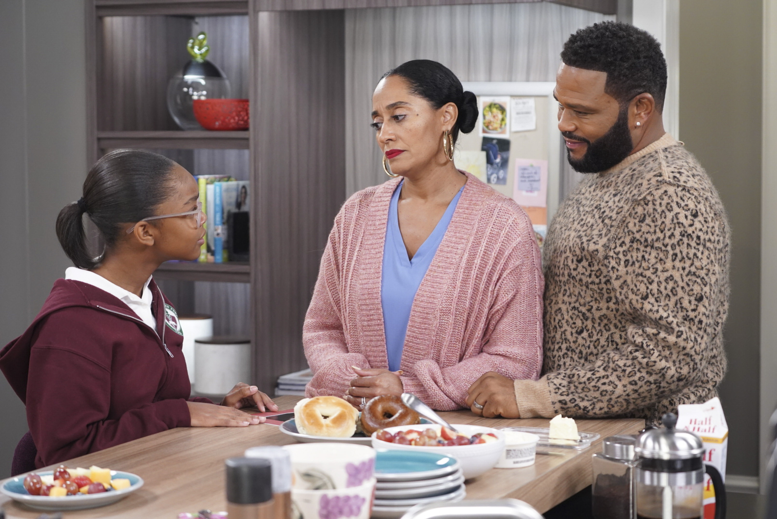 "This image released by ABC shows Marsai Martin, from left, Tracee Ellis Ross and Anthony Anderson in a scene from ""black-ish."" (Ron Tom/ABC via AP)"