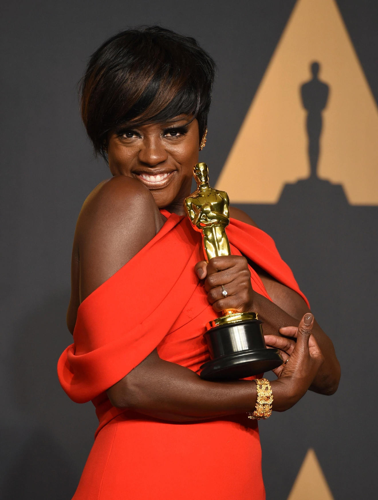 Viola Davis poses in the press room at the Oscars on Sunday, Feb. 26, 2017, at the Dolby Theatre in Los Angeles. (Photo by Jordan Strauss/Invision/AP)
