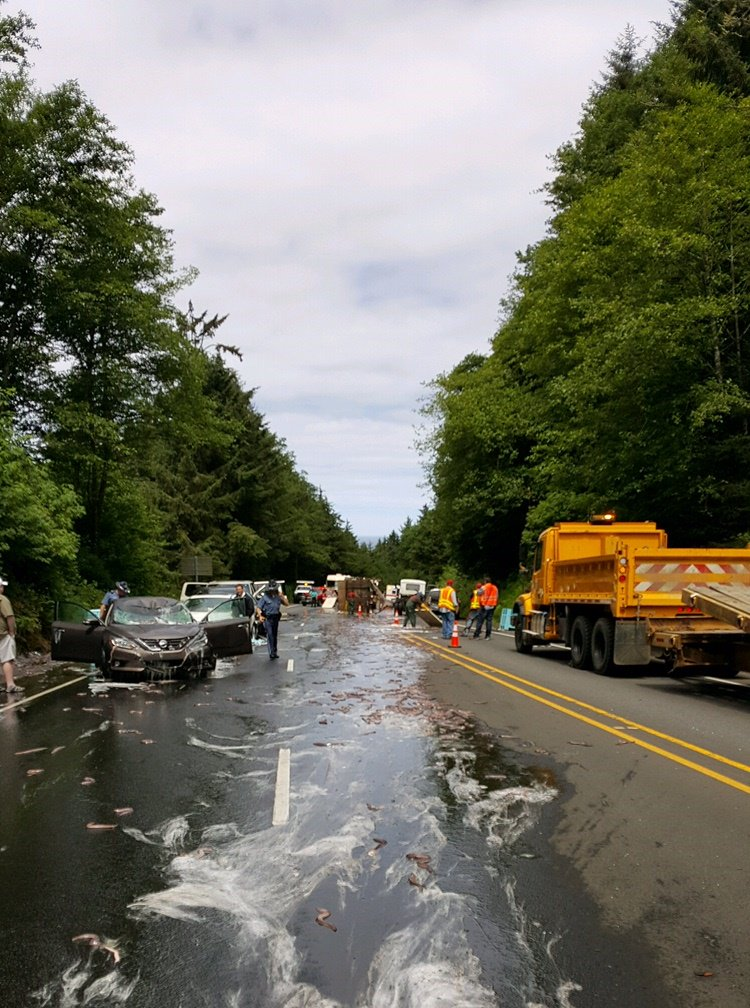 Eel truck overturns on Highway 101 - Photo courtesy Oregon State Police