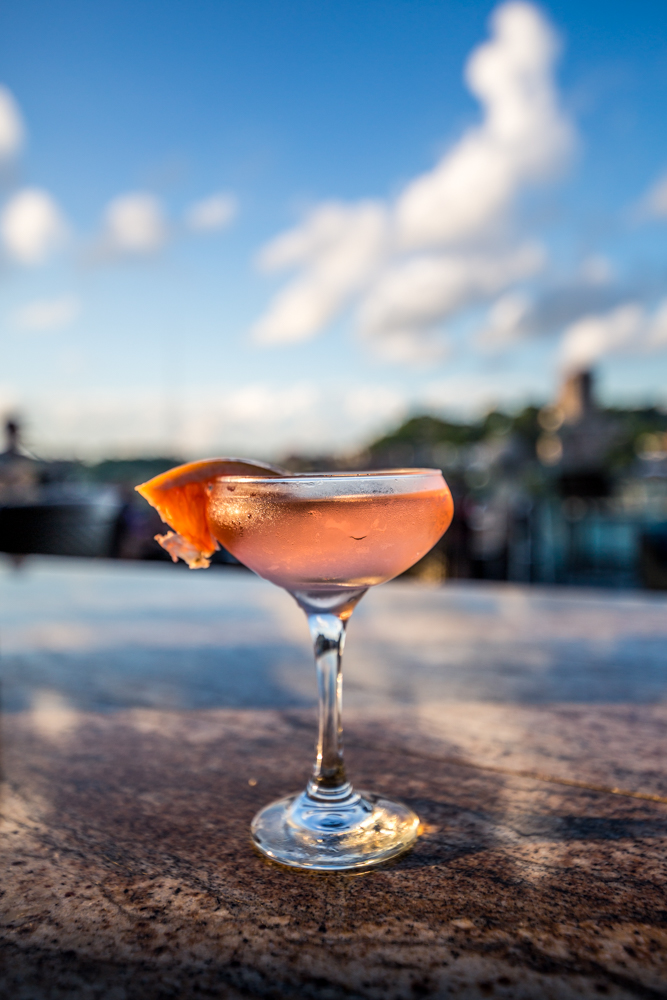 PLACE: Top of the Park / ADDRESS: 506 E 4th Street (45202) / Top of the Park's Lady Lytle cocktail: Ketel One Botanical Grapefruit & Rose, Rosè, and elderflower/ Image: Catherine Viox // Published: 7.7.19