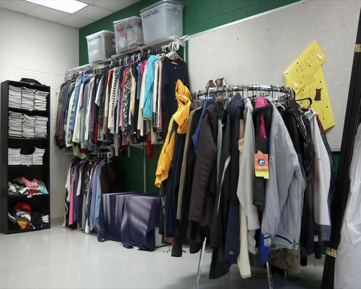 A wardrobe room  is set up for students at Riverside High School. (WCHS/WVAH)
