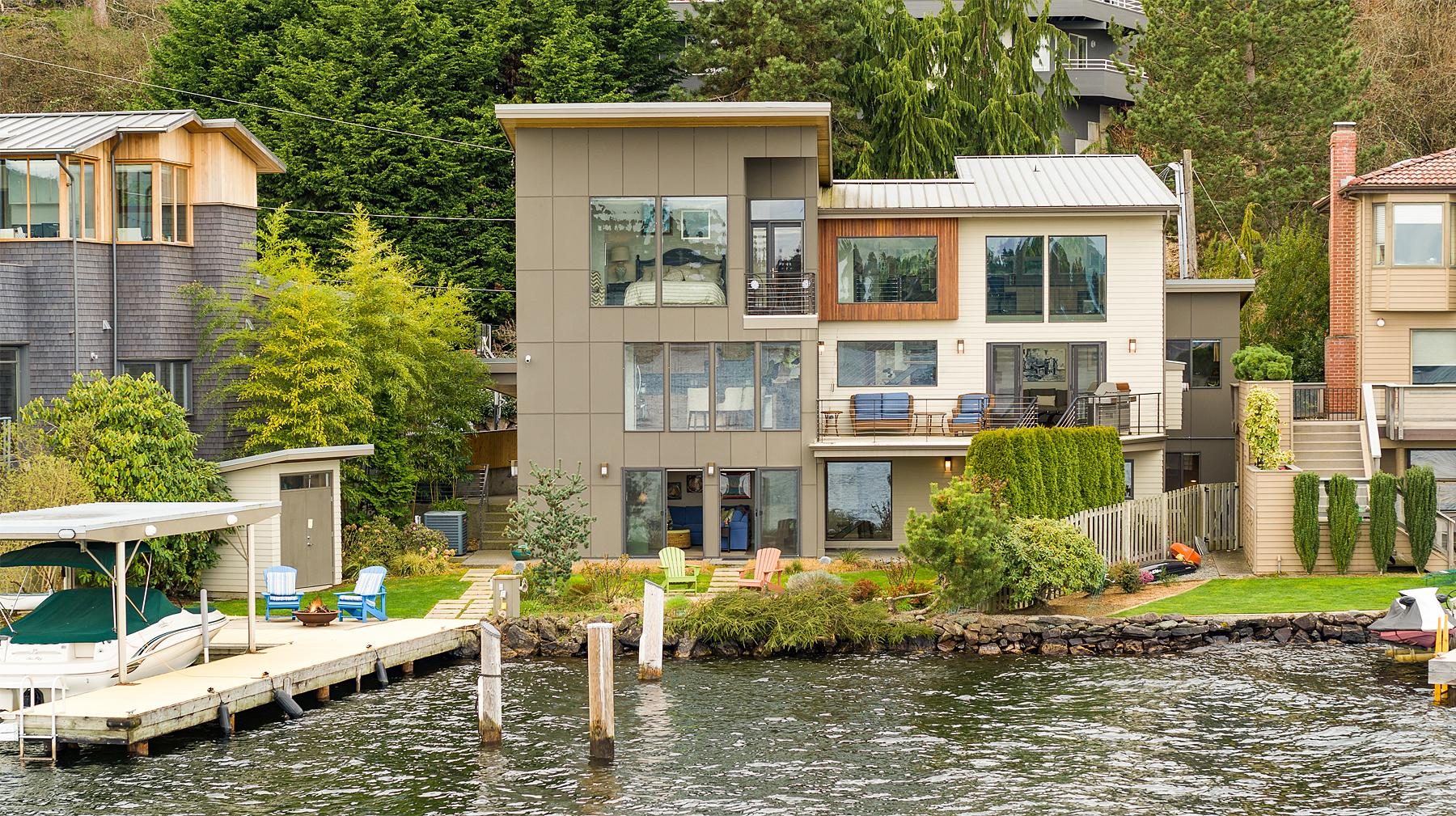 "SWOON! This gorgeous home sits on the shores of Lake Washington and boasts views of both the north end of the lake as well as the Cascade Mountains. The home has 63 feet of no bank water front, open floor plans, walls of windows that maximize the views, chef's kitchen with an island, floating steel staircase, and so much more!{&nbsp;}<a  href=""https://www.windermere.com/listing/WA/Lake-Forest-Park/14730-Edgewater-Lane-NE-98155/93629600"" target=""_blank"" title=""https://www.windermere.com/listing/WA/Lake-Forest-Park/14730-Edgewater-Lane-NE-98155/93629600"">Listed by Windermere for $3M</a>, there are 4 bedrooms, 3 baths and is 3,440 square feet. When can we move in? (Image courtesy of Windermere)"