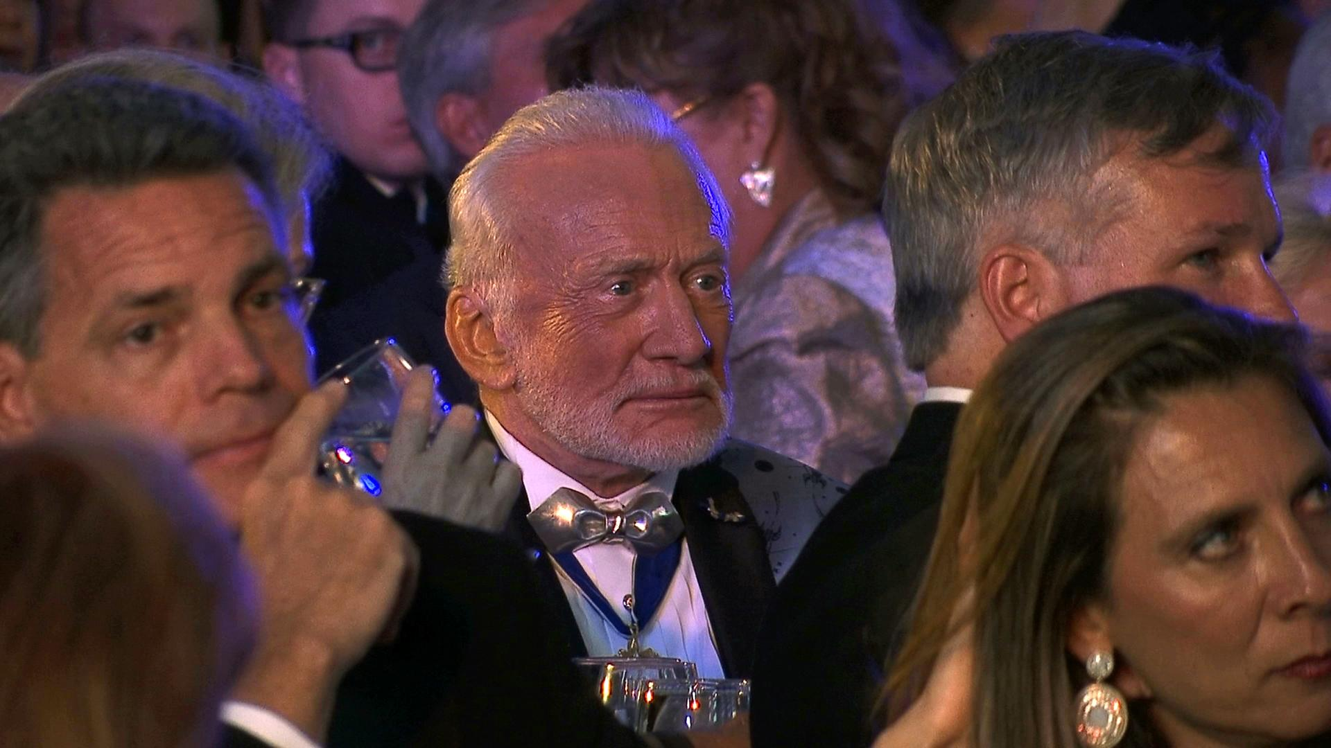 Apollo 11 astronaut Buzz Aldrin attends the commemoration for the upcoming anniversary of the 1969 mission to the moon and a gala for his non-profit space education foundation, ShareSpace Foundation, at the Kennedy Space Center in Cape Canaveral, Fla., on Saturday, July 15, 2017. (AP Photo/Alex Sanz)