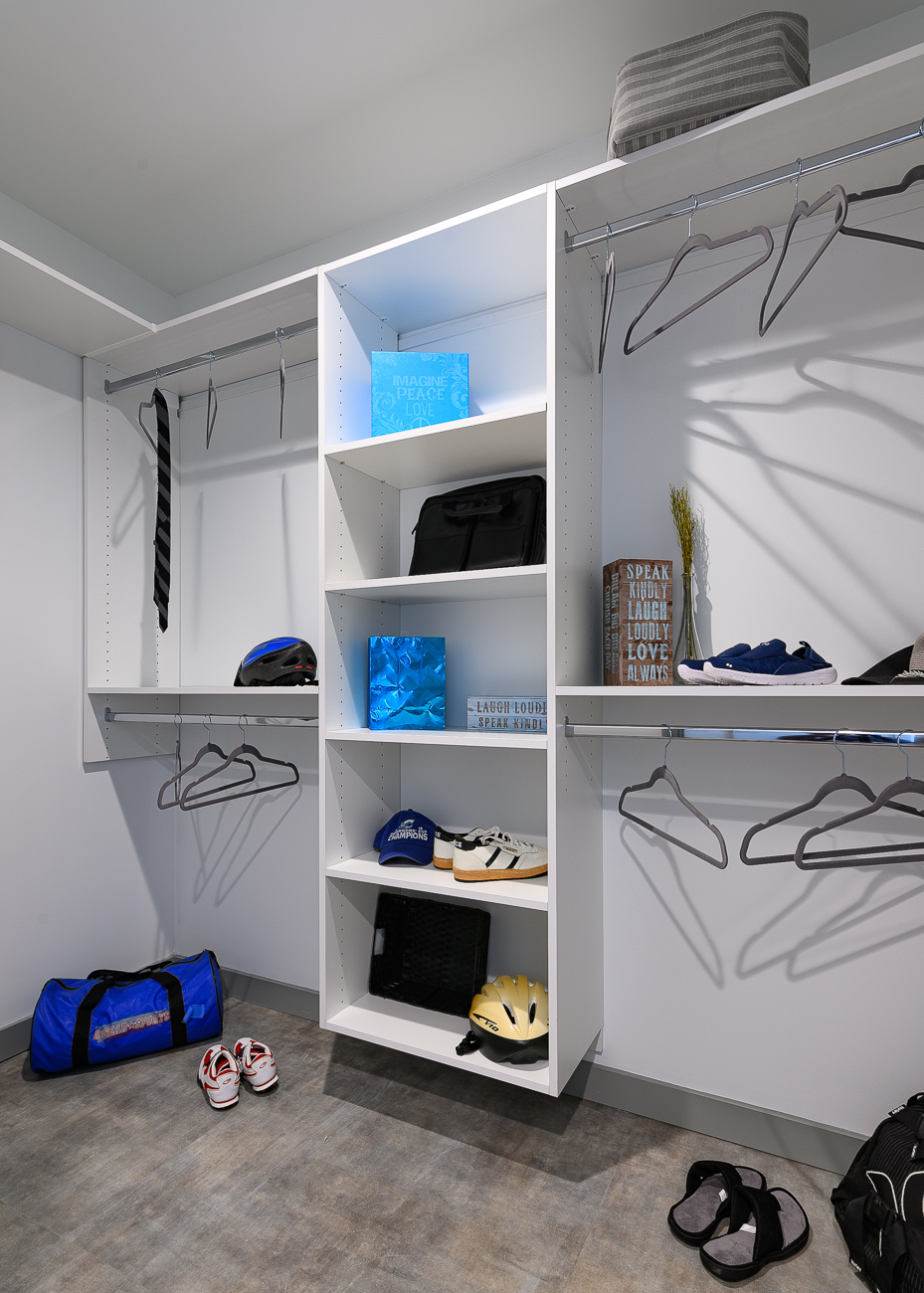 Closets feature custom shelving. / Image: Phil Armstrong // Published: 9.2.19