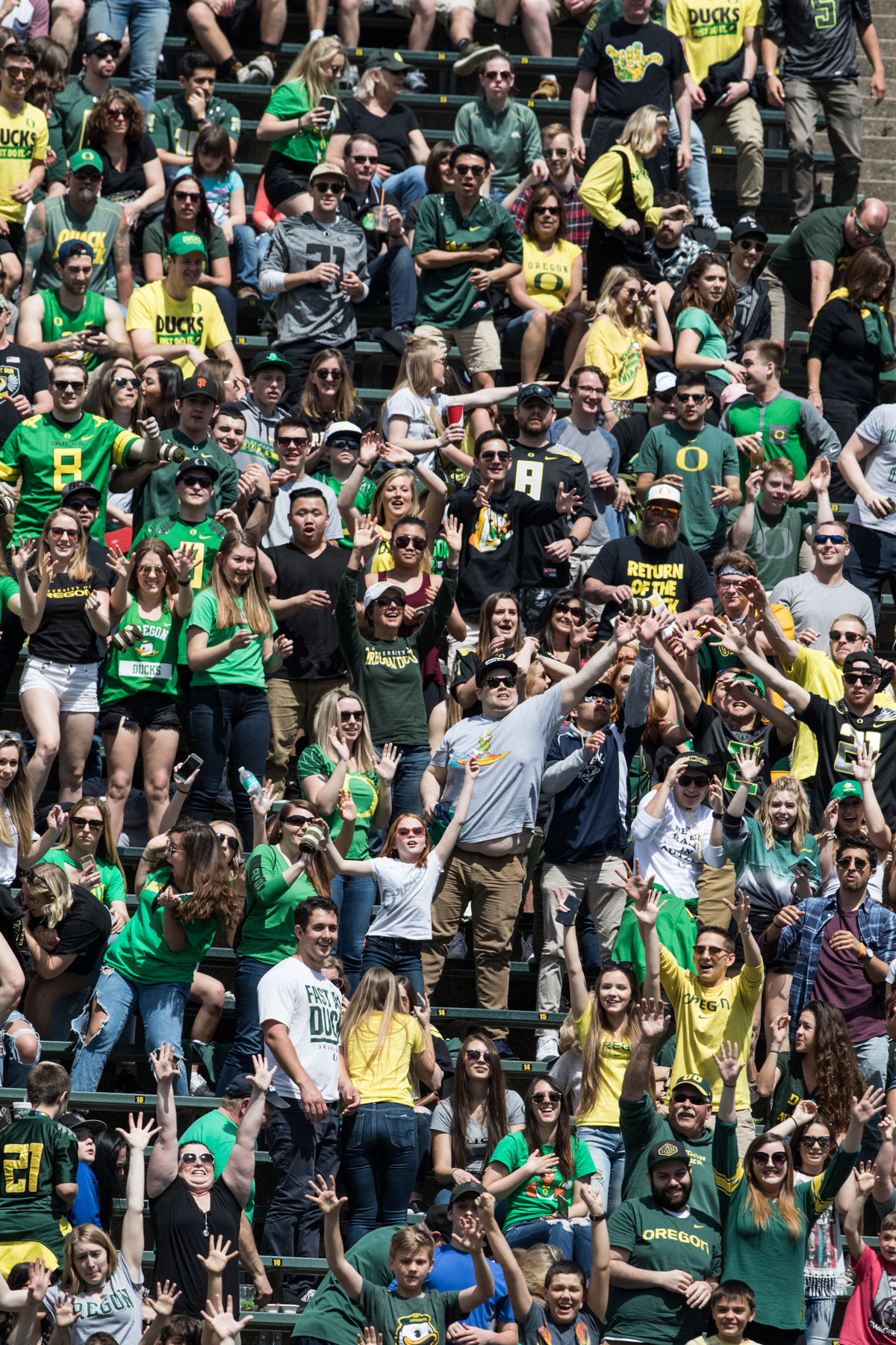 University of Oregon Ducks football fans gathered for the 2017 Spring Game at Autzen Stadium. The Spring Game served as the first exhibition of Coach Willie Taggart's newly assembled coaching staff. Cost of admission was three cans of non-perishable food to benefit Food for Lane County. Photo by Ausitn Hicks, Oregon News Lab