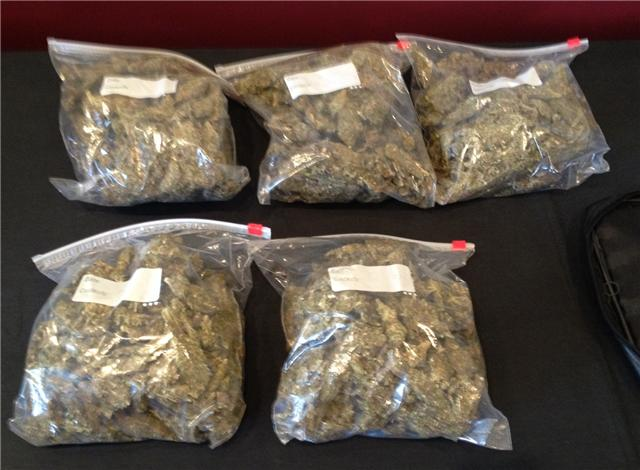 Five pounds of pot recovered from a vehicle near Griffin's residence. / Sean Streicher