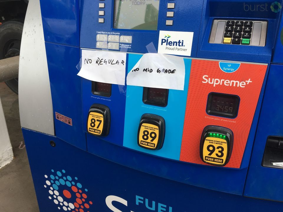 A Mobil gas station in Fort Pierce, FL has run out of regular and mid grade gasoline (Photo submitted via Burst)