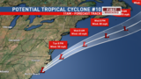 Potential Tropical Cyclone #10 moves away early Tuesday