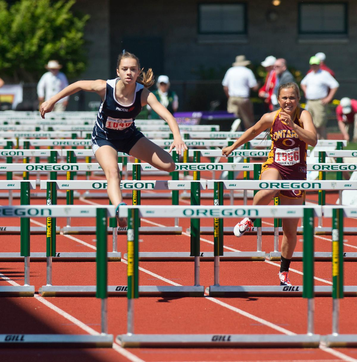 Emily Scanlon from North Marion wins the 4A Girls 100 Hurdles with a time of 15.29 at the OSAA Championship at Hayward Field on Saturday. Photo by Dan Morrison, Oregon News Lab