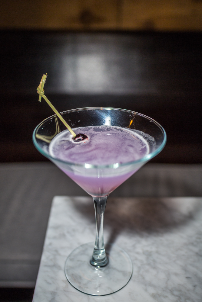 The Red Baron: a take on the classic cocktail 'The Aviation' made with New Riff Wild Gin, Domaine De Canton. ginger simple, lime juice, orange blossom water, and butterfly pea extract / Image: Catherine Viox // Published: 4.11.19