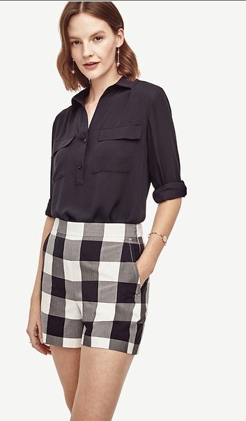 With red gingham, you always run the risk of looking like a  tablecloth! Play it cool and stick to a classic black and white color scheme. Gingham High Waist Shorts, $49.99, anntaylor.com (Image: Courtesy Ann Taylor)