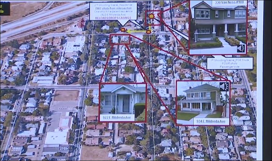 Chief Dyer went step by step, showing where each shot was fired. (Photo Fresno Police)
