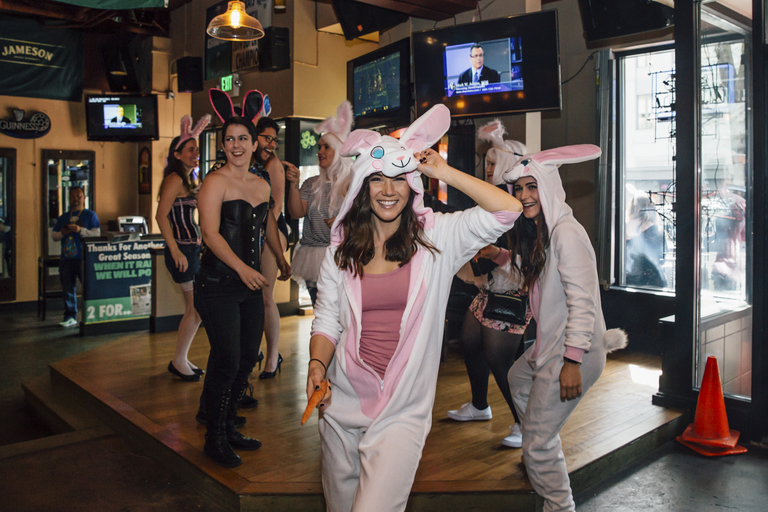 It's SantaCon for Easter! Hundreds of bunnies hopped from bar to bar through downtown Seattle for the 8th annual Seattle BunnyCon! Why? To have a good time and spread springtime cheer and creativity! (Image: Sunita Martini / Seattle Refined)