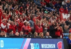 Wisconsin fans react during the second half of a first-round game against Virginia Tech in the NCAA Tournament, Thursday, March 16, 2017, in Buffalo, N.Y.
