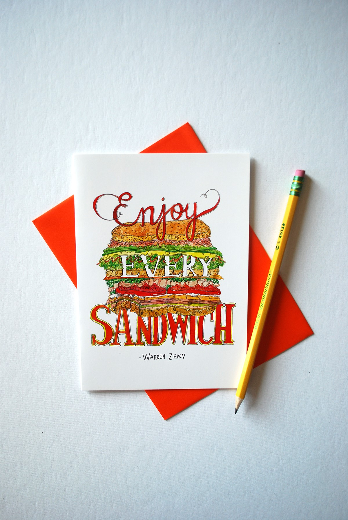 "Her most popular creations include a Dagwood-sized sandwich overlaid with a Warren Zevon quote, ""Enjoy every sandwich,"" a roundup of chili peppers and their Scoville units, and a heart formed out of beets coyly titled ""Heart beet."" (Image: Courtesy Marcella Kriebel )"