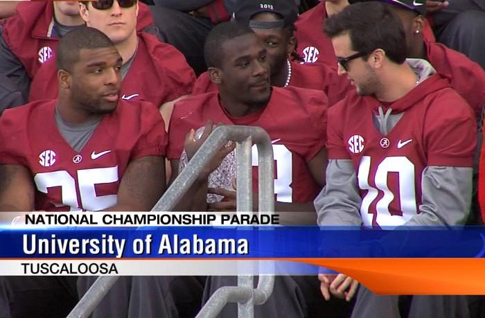 Wide receiver Kevin Norwood holds the BCS crystal ball as his quarterback AJ McCarron looks on during the national championship celebration on Saturday, January 19, 2013.