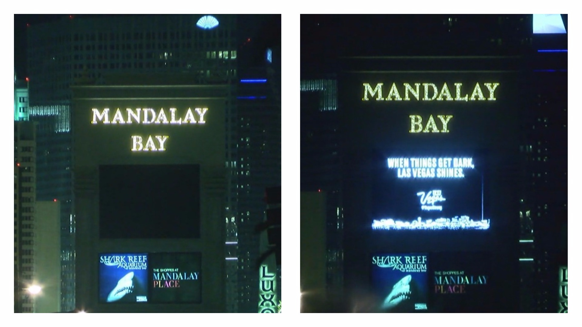 The marquee at Mandalay Bay goes dark (left) and relights Sunday, Oct. 8, 2017, to remember the victims of the Route 91 Harvest Festival massacre. (Corwin Hall/KSNV)