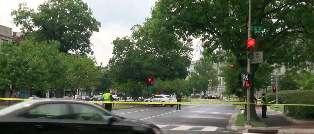 Two people were injured in crash, vehicle investigation leads to road closures on Capitol Hill.  Monday, July 17, 2017 (ABC7 photo)