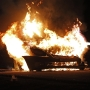 Flames destroy car in Freetown