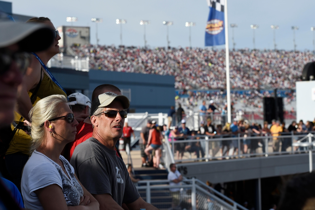 Fans watch the action from the Neon Garage during the NASCAR Xfinity Series Boyd Gaming 300 Saturday, March 11, 2017, at the Las Vegas Motor Speedway. (Sam Morris/Las Vegas News Bureau)