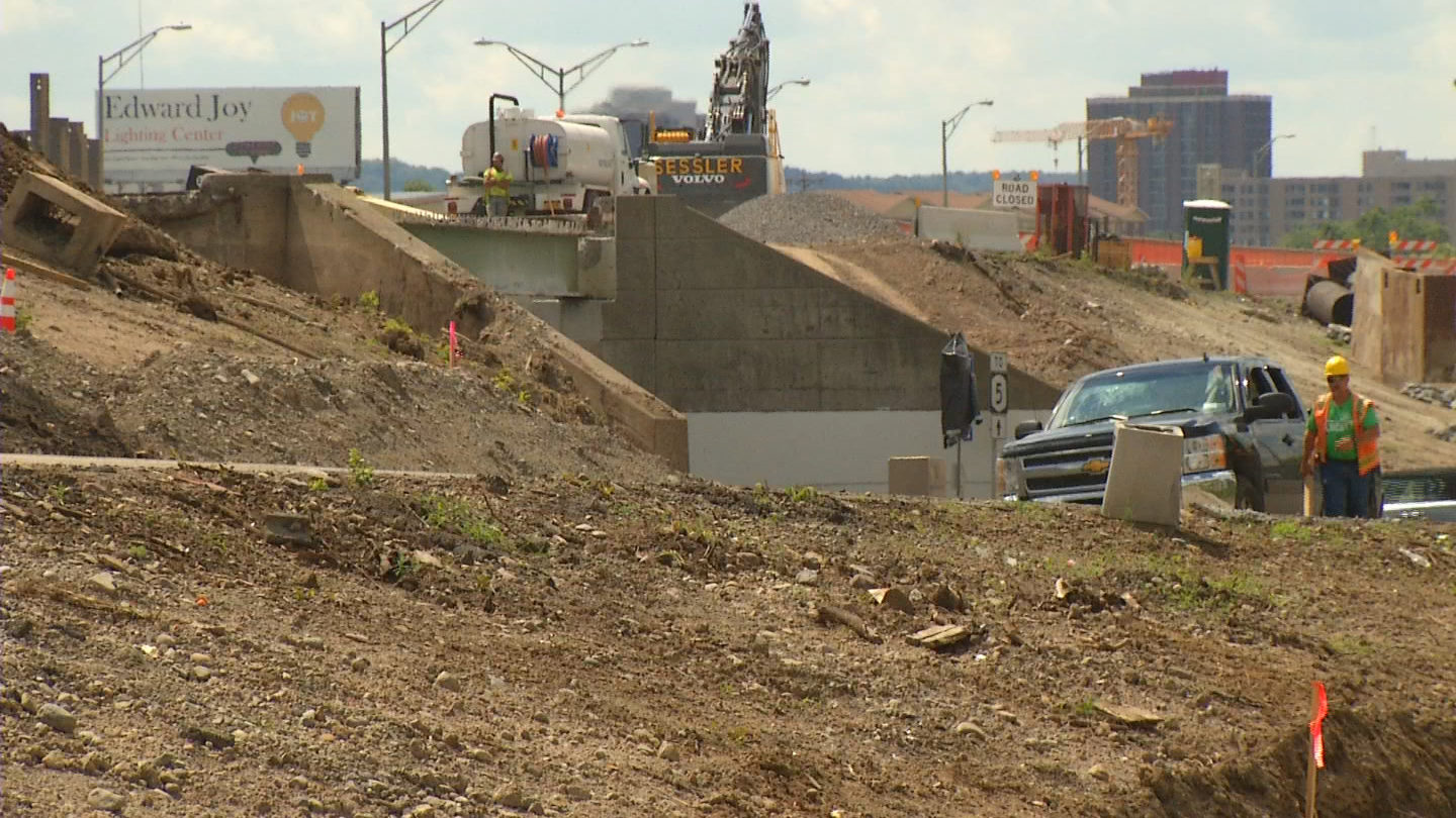Workers are almost halfway through a two-year project to rebuild the elevated areas of I-690 at Teall Avenue.