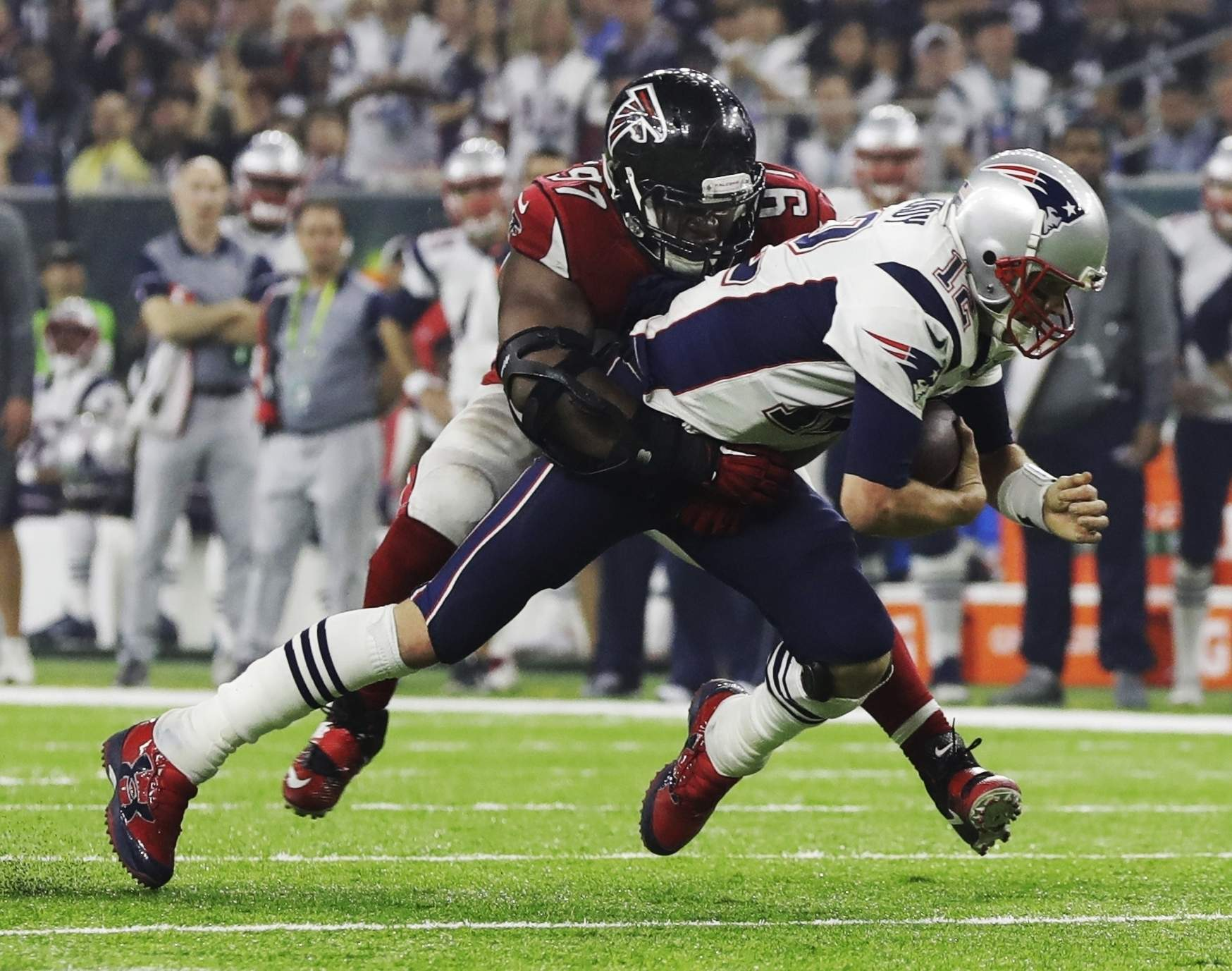 The New England Patriots' Tom Brady is sacked by the Atlanta Falcons' Grady Jarrett during the second half Sunday, Feb. 5, 2017, in Houston. THE ASSOCIATED PRESS