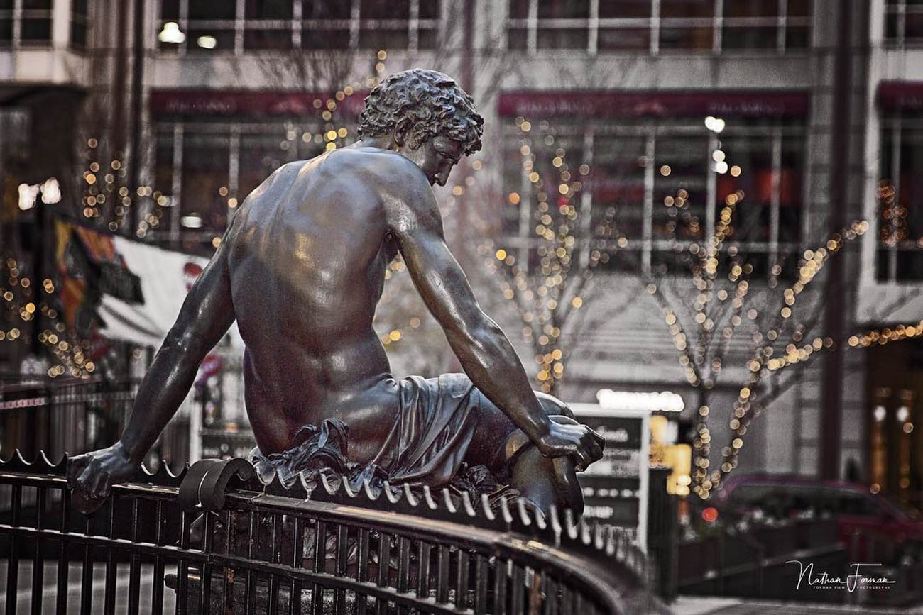 A sculpture from the Tyler Davidson Fountain, aka the Genius of Water Fountain. The fountain was donated to Cincinnati in 1871. / Image courtesy of Instagram user @forman_film // Published: 3.20.19
