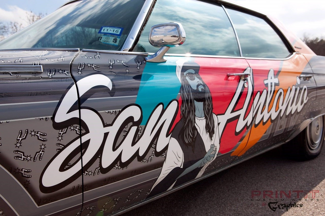 Local celebrity 'Spurs Jesus' tricks out classic car (Courtesy: Spurs Jesus, Print it Custom Wraps and Graphics.)