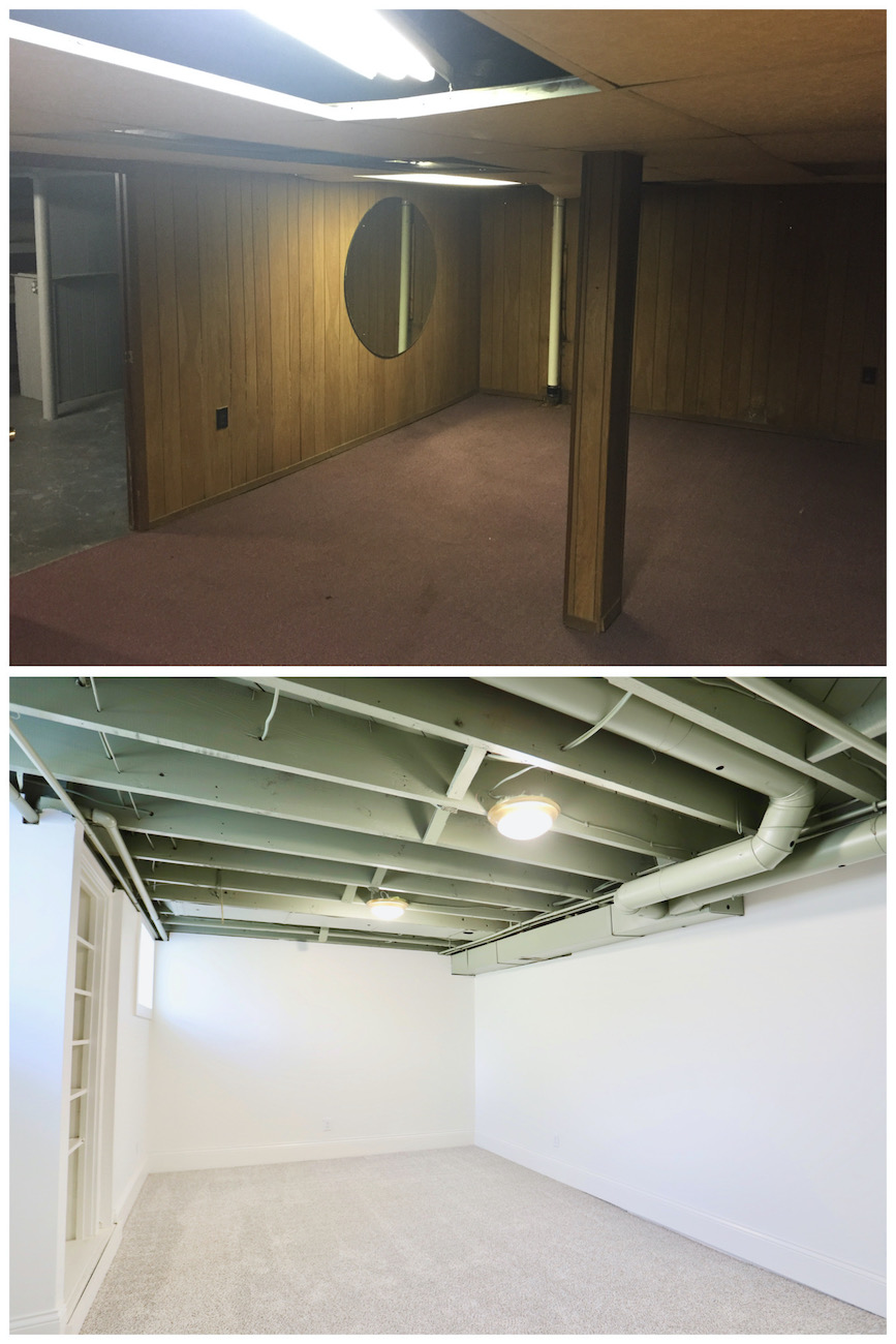 Basement before (top) and after (bottom) with exposed ceiling beams painted a neutral green. / Image courtesy of Nicole Nichols // Published: 6.2.20