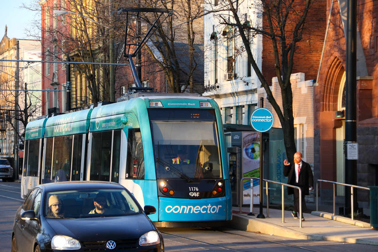Just across the street, the Cincinnati Streetcar's 12th & Race Street Station provides a transit connection to Downtown. It is the closest station to Cobblestone OTR. / Image: Ronny Salerno // Published: 1.2.19