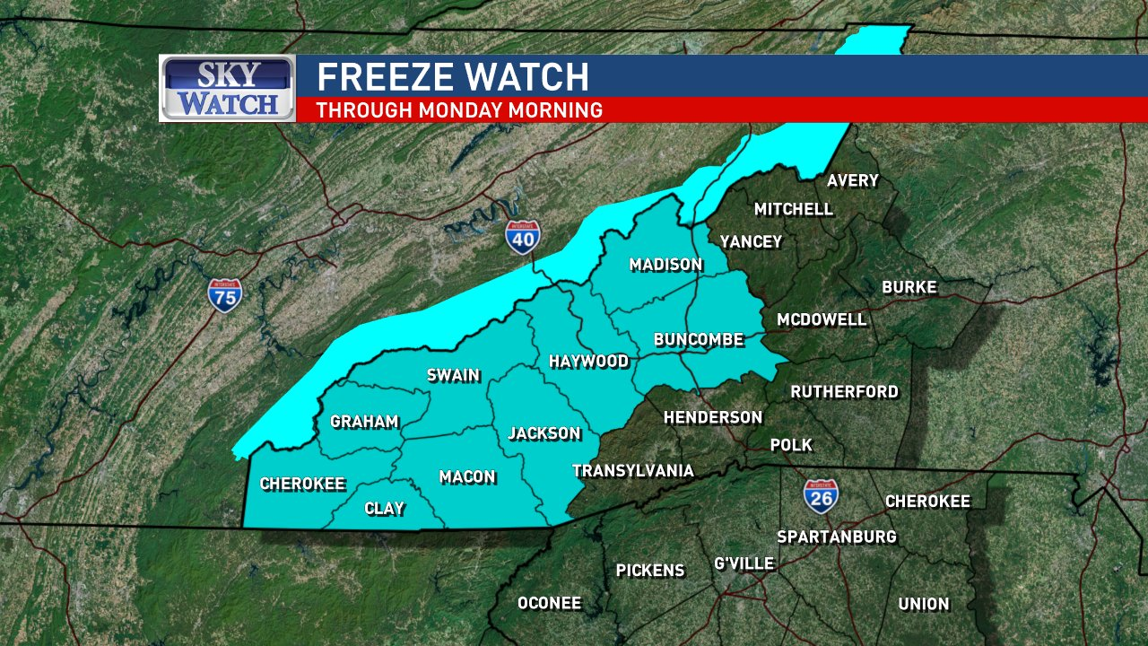 There is a FREEZE WATCH from late Sunday through Monday morning.  Protect tender plants. Image: WLOS staff