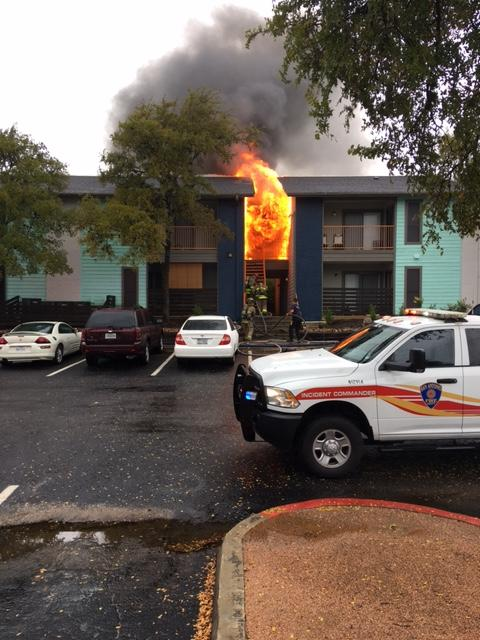 Fire at Vivid Apartment Homes on Wednesday, October 4, 2017. (Photo: Sinclair Broadcast Group)