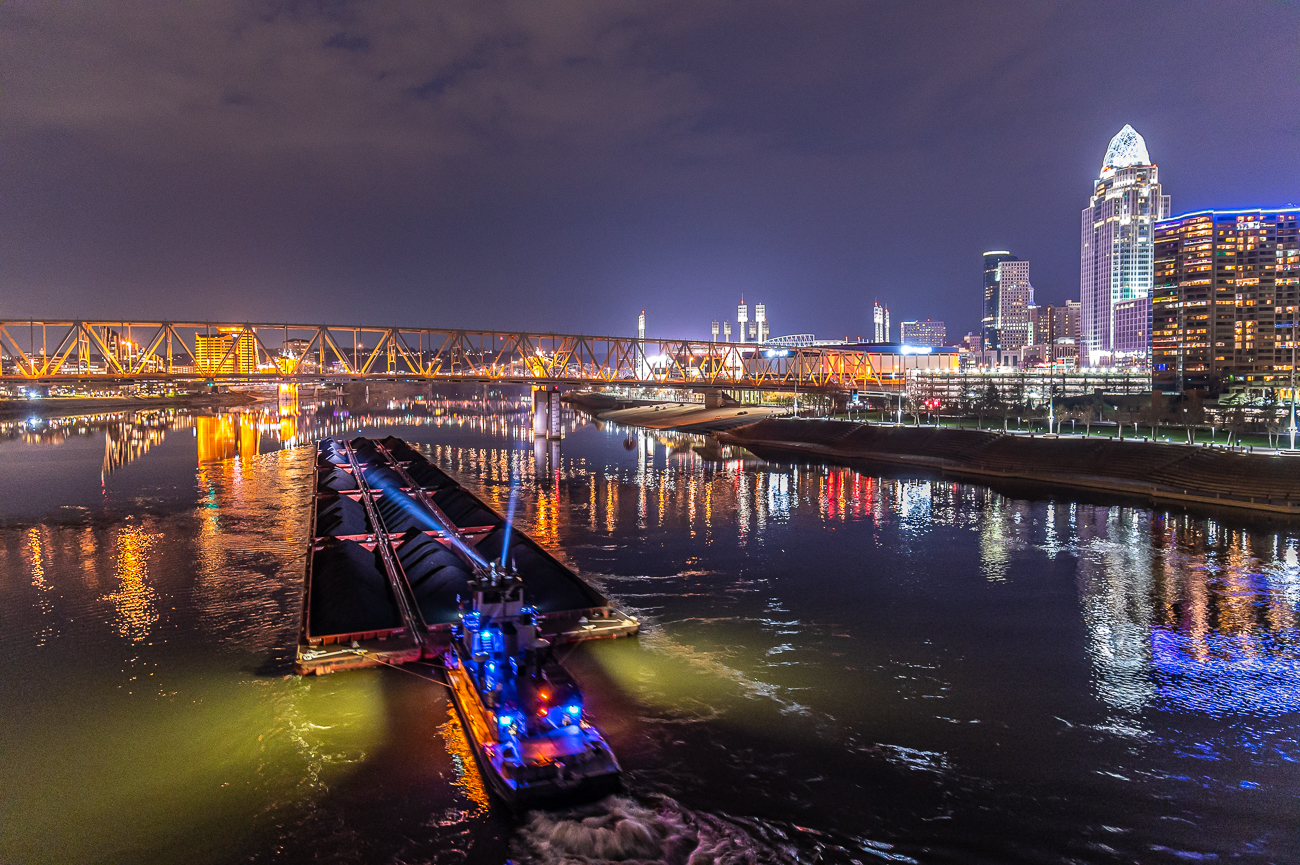 Hanging out on the bridge at night yields great views of Cincinnati and river traffic. / Image: Phil Armstrong // Published: 12.1.20