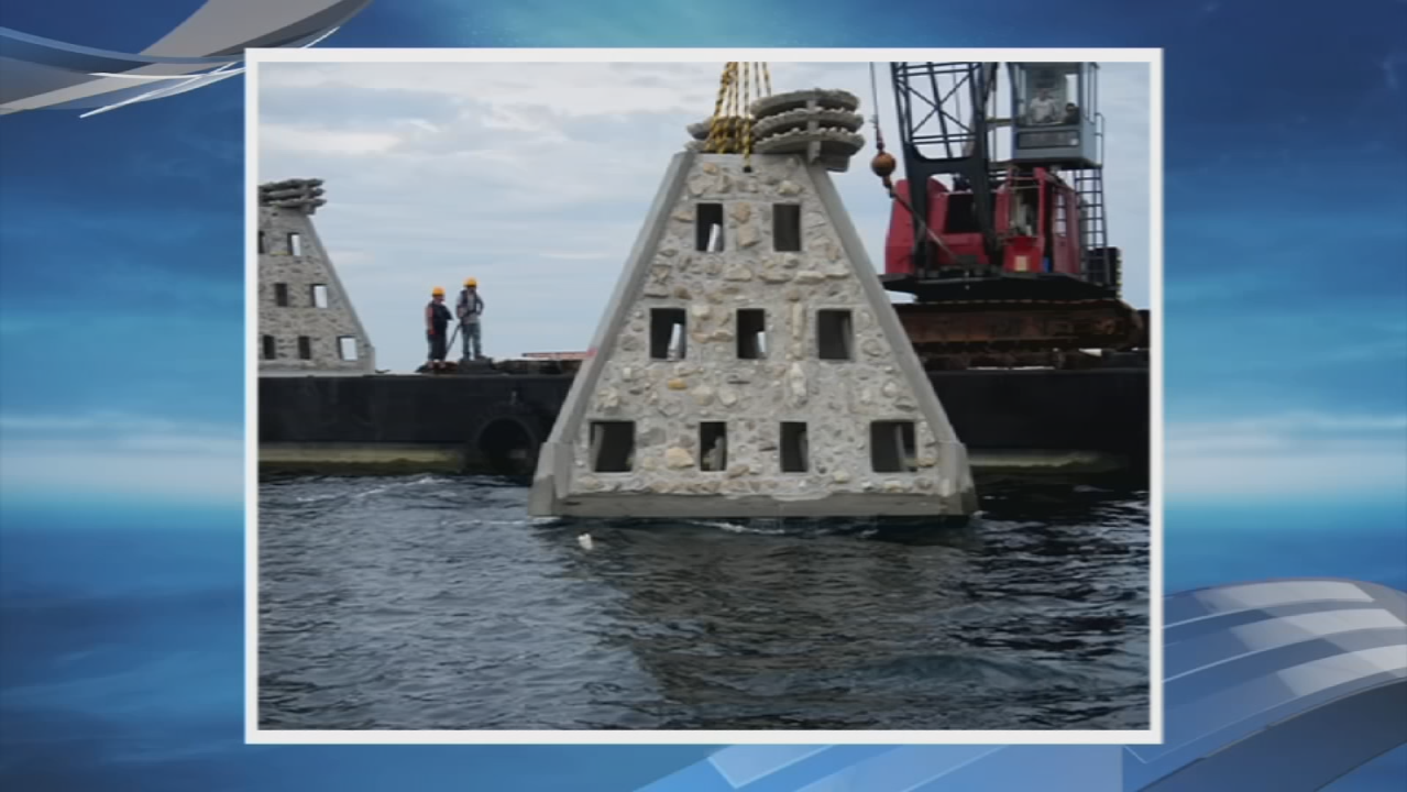 Pyramid-style artificial reef (WEAR-TV)<p></p>