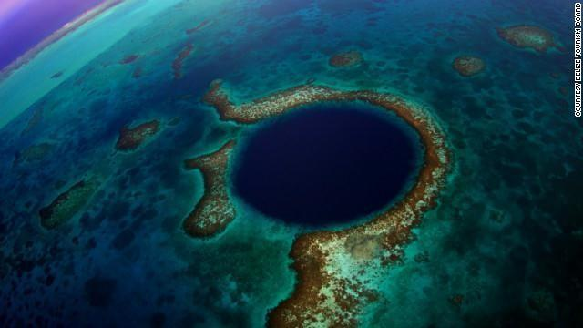 """The Great Blue Hole"" is the name of a massive underwater sinkhole off the coast of Belize."