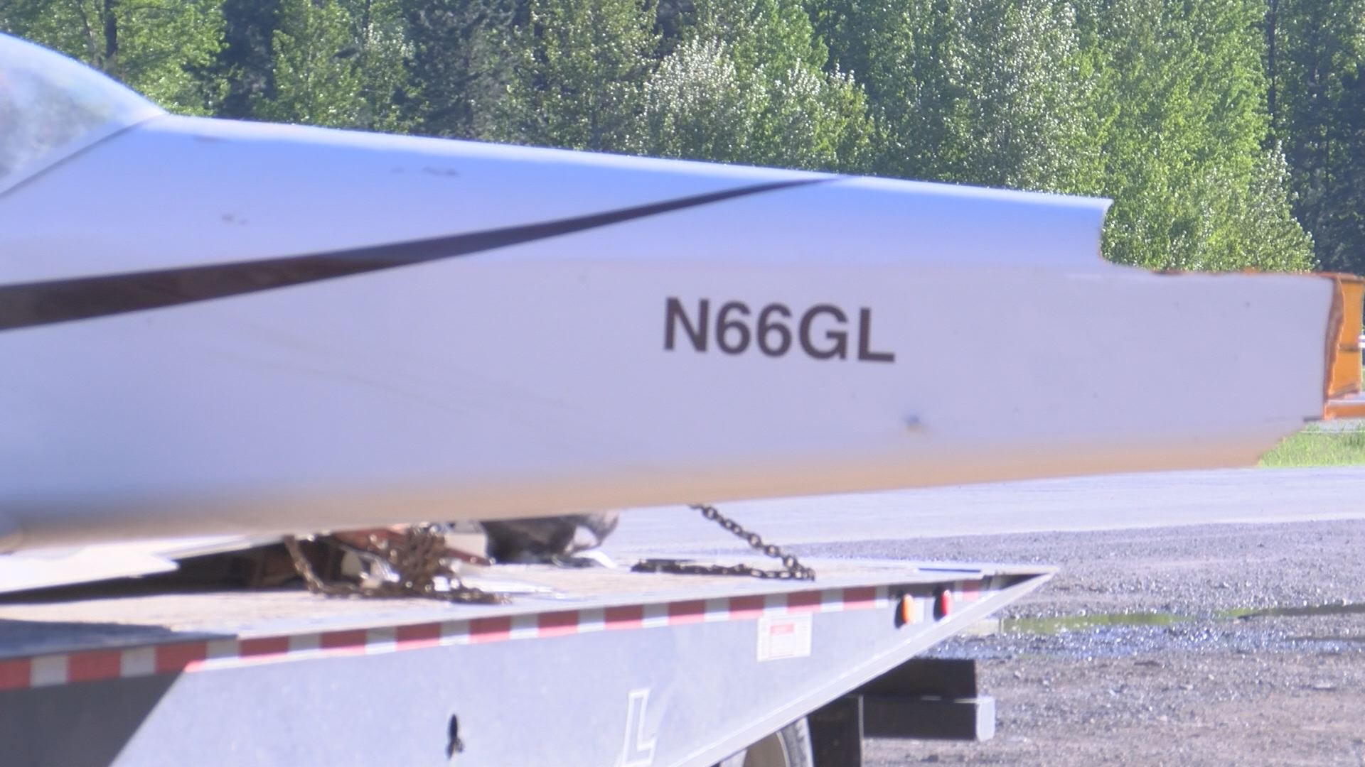 Tail of the wing that broke off when the plane crash landed on Interstate 90