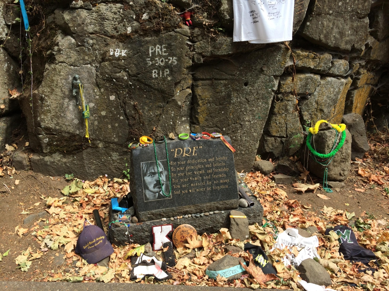 Pre's Rock, the monument to Steve Prefontaine, is also up for landmark status. This area around Pre's Rock is already designated as a city park. City staff hopes to make the area up here safer for pedestrians so it's easier for people to visit. (SBG/Cameron Walker)