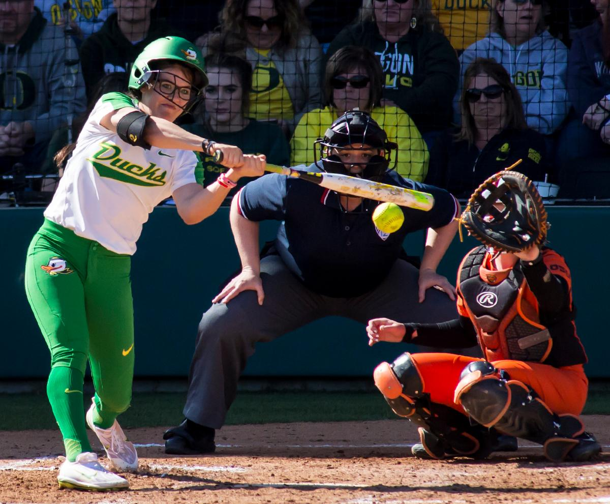 Oregon right fielder Dannie Mercado (#2) swings the bat and hits a foul ball. The Oregon Ducks defeated the Oregon State Beavers seven to zero on Sunday, April 30, 2017. The Ducks' victory marked the third victory of the three game sweep against the Beavers. Photo by Ben Lonergan, Oregon News Lab