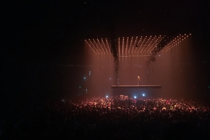 Photos: Kanye West floats into Seattle on a suspended stage