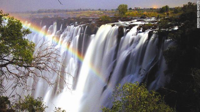 This rare natural phenomenon occurs for three days around the full moon during high-water season at Zambia's most stunning waterfall.