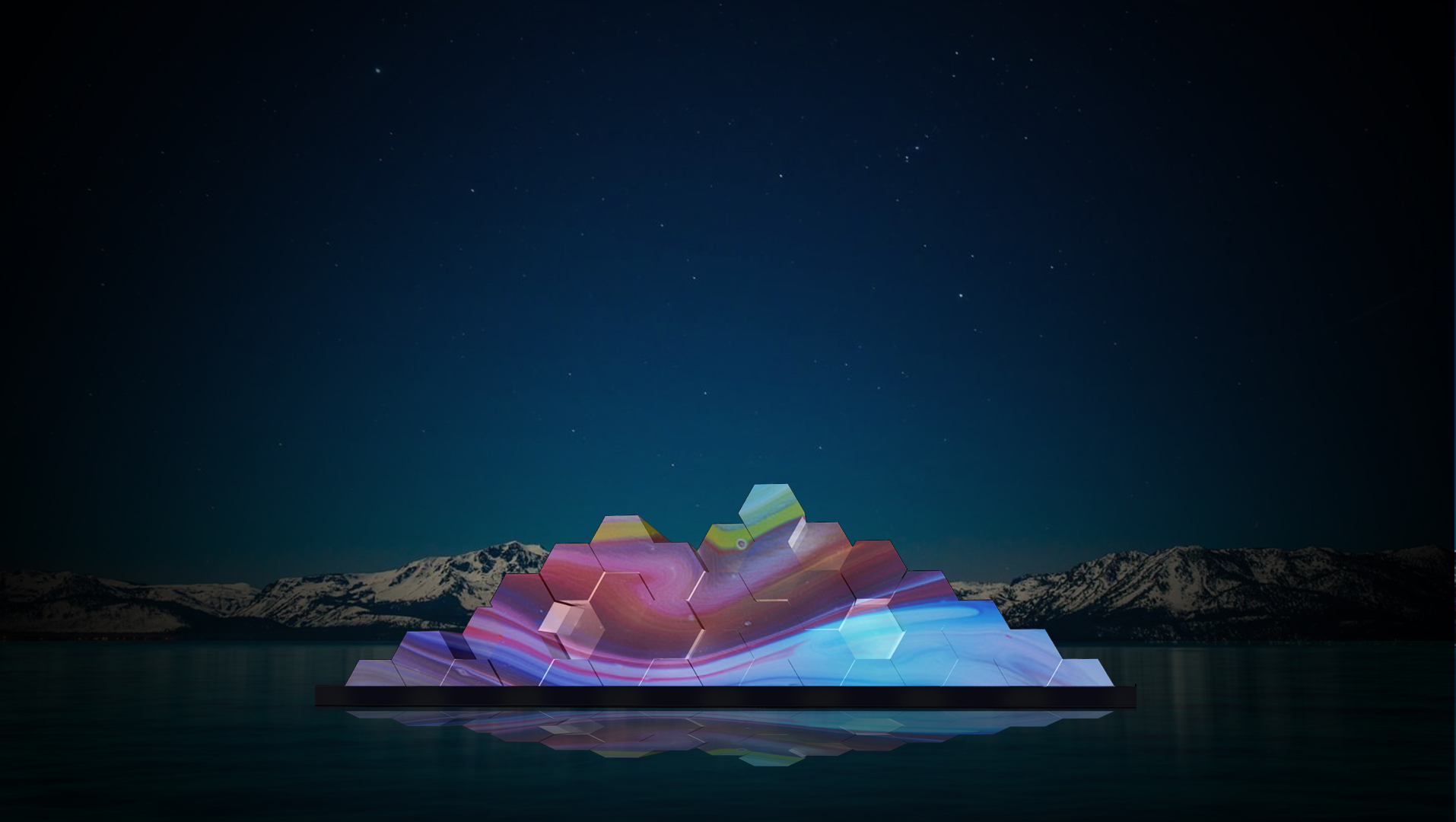 A conceptual rendering of the floating sculpture shows how it will look at night. (Courtesy: Tahoe Public Art)