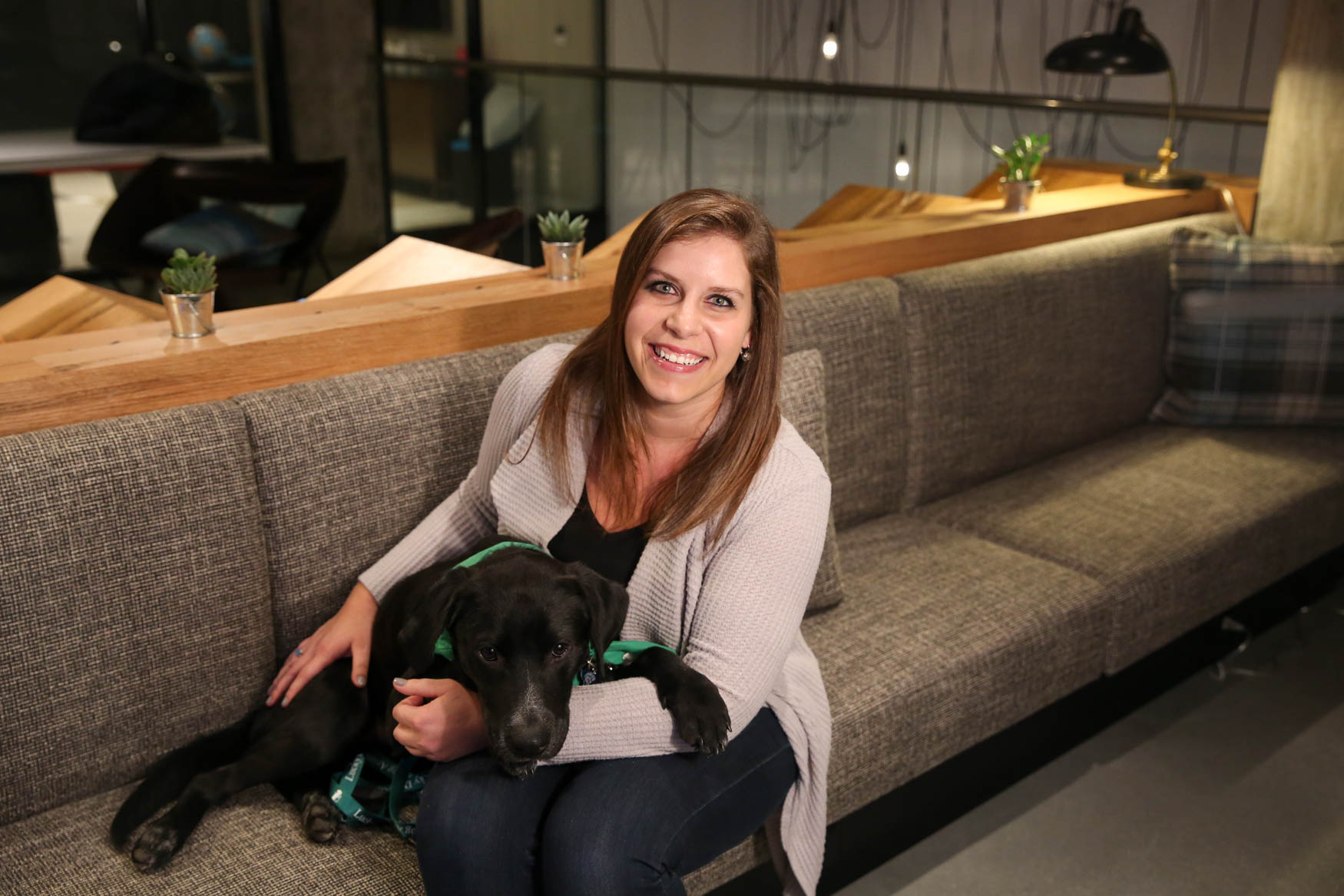 Meet Nelson and Lynette, a 1-year-old Lab mix and a 28-year-old human respectively. Photo location: Moxy Washington, D.C. Downtown (Image: Amanda Andrade-Rhoades/ DC Refined)