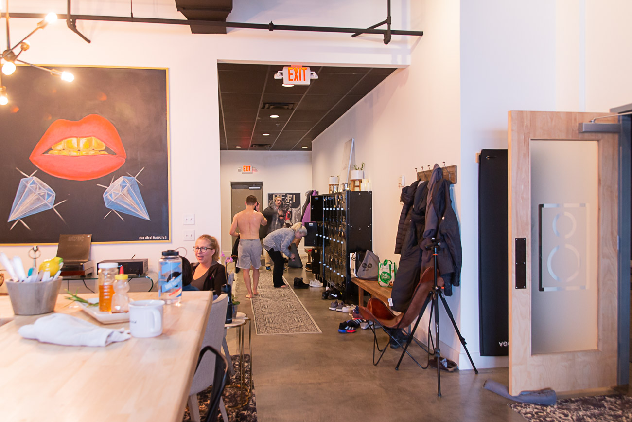 "The 3,000-square-foot studio is purposely built with the community in mind, which is why there is a dedicated space for students to hang out before/after class to build new connections. ""We hoped to create a space where our members felt like family,"" Moorman says. / Image: Elizabeth A. Lowry // Published: 3.5.20"