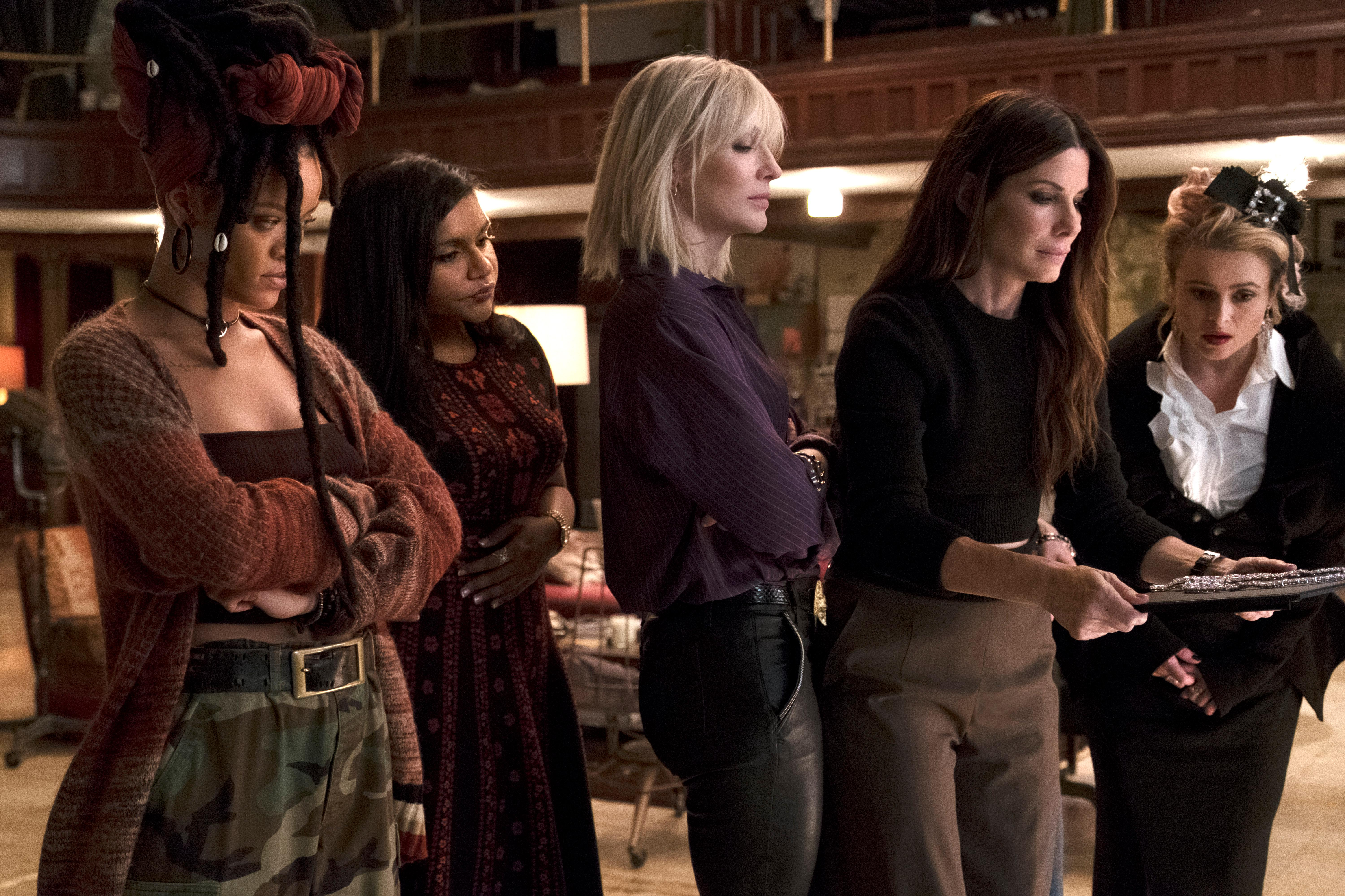 "(L-R) RIHANNA as Nine Ball, MINDY KALING as Amita, CATE BLANCHETT as Lou, SANDRA BULLOCK as Debbie Ocean and HELENA BONHAM CARTER as Rose in Warner Bros. Pictures' and Village Roadshow Pictures' ""OCEANS 8,"" a Warner Bros. Pictures release.{ }(Photo: Barry Wetch / Warner Bros.)"