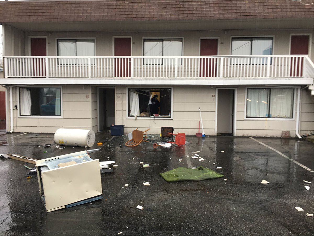 Police say the suspect destroyed his motel room during a two-hour standoff. (Photo credit: Edmonds Police Dept.)