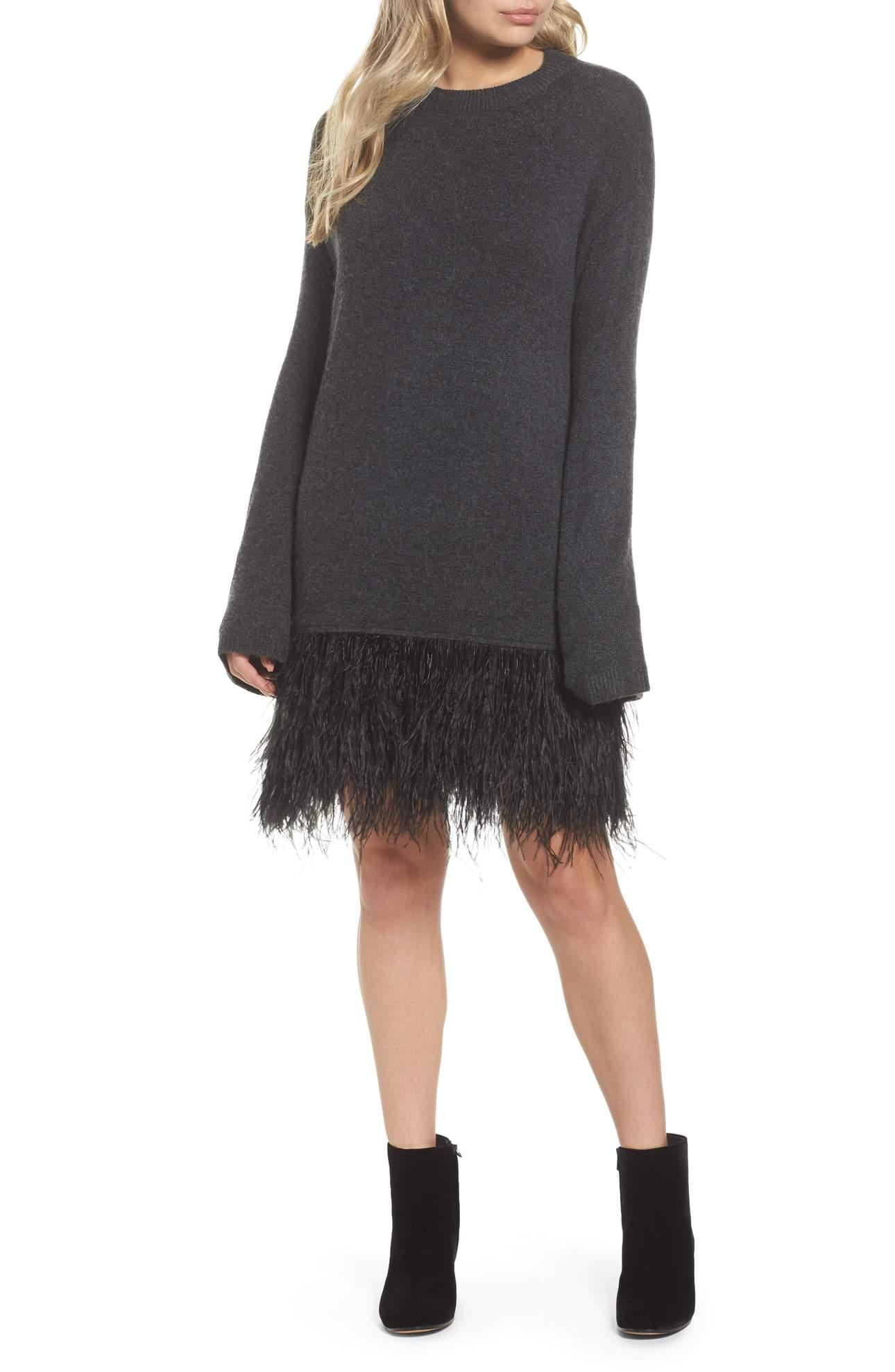 <p>Feather Hem Sweatshirt Dress - $149. Don't disappoint your party people; arrive in your finest feathers wearing this sweatshirt dress with a hem of ostrich plumes. Pair with a total GLAM chunky necklace and red lips. (Image: Nordstrom){&amp;nbsp;}</p><p></p>