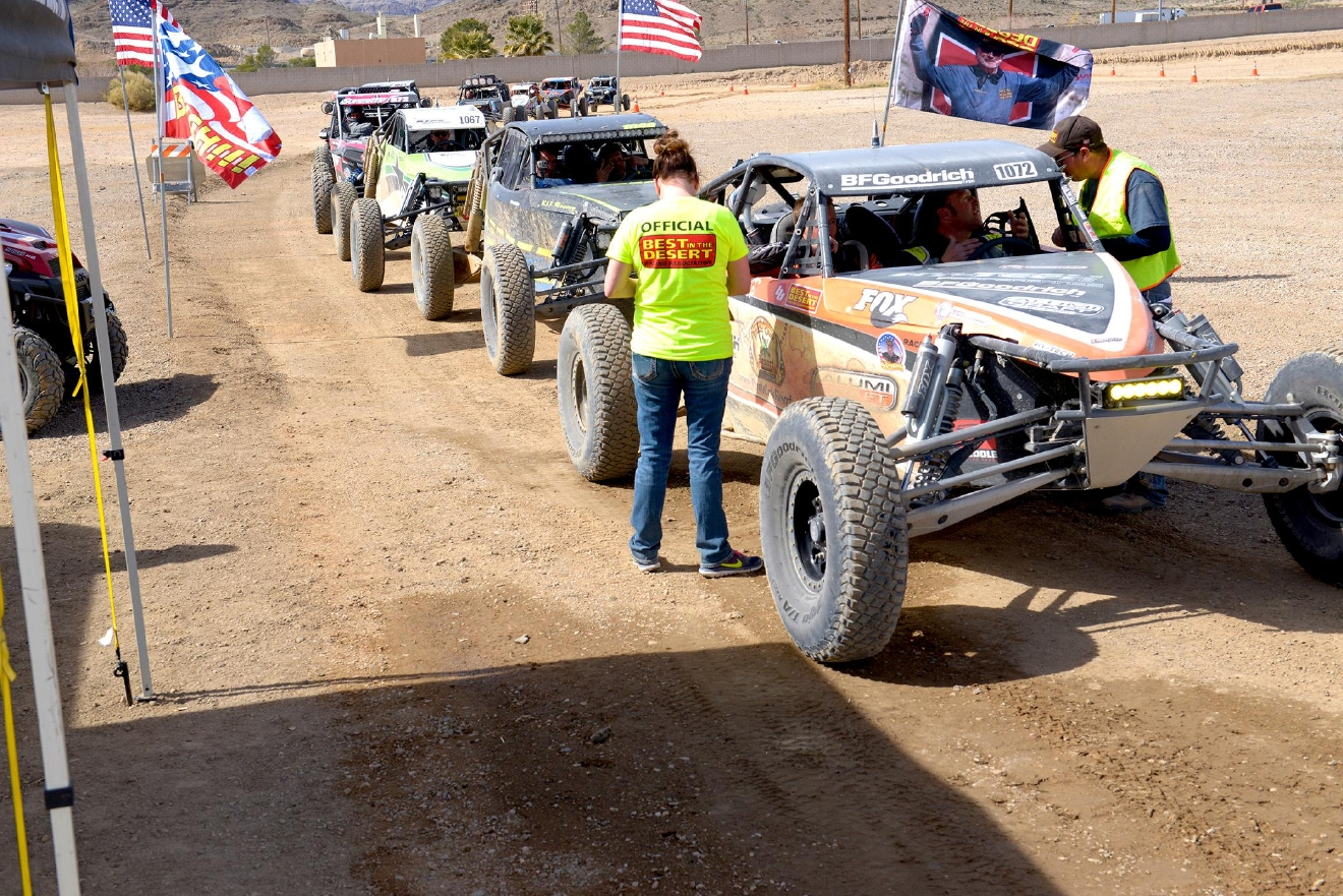 Finishers in the Limited race line-up to get there times and placement at the Mint 400 Off-road Race in Primm, Nevada. Saturday, March 4, 2017.  [Glenn Pinkerton/Las Vegas News Bureau]