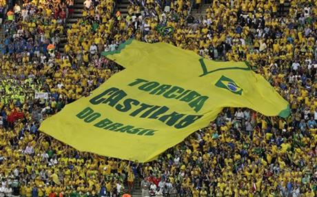 "A giant shirt ""Castilho do Brasil Fan Club"" is displayed during the group A World Cup soccer match between Brazil and Croatia, the opening game of the tournament, in the Itaquerao Stadium in Sao Paulo, Brazil, Thursday, June 12, 2014."