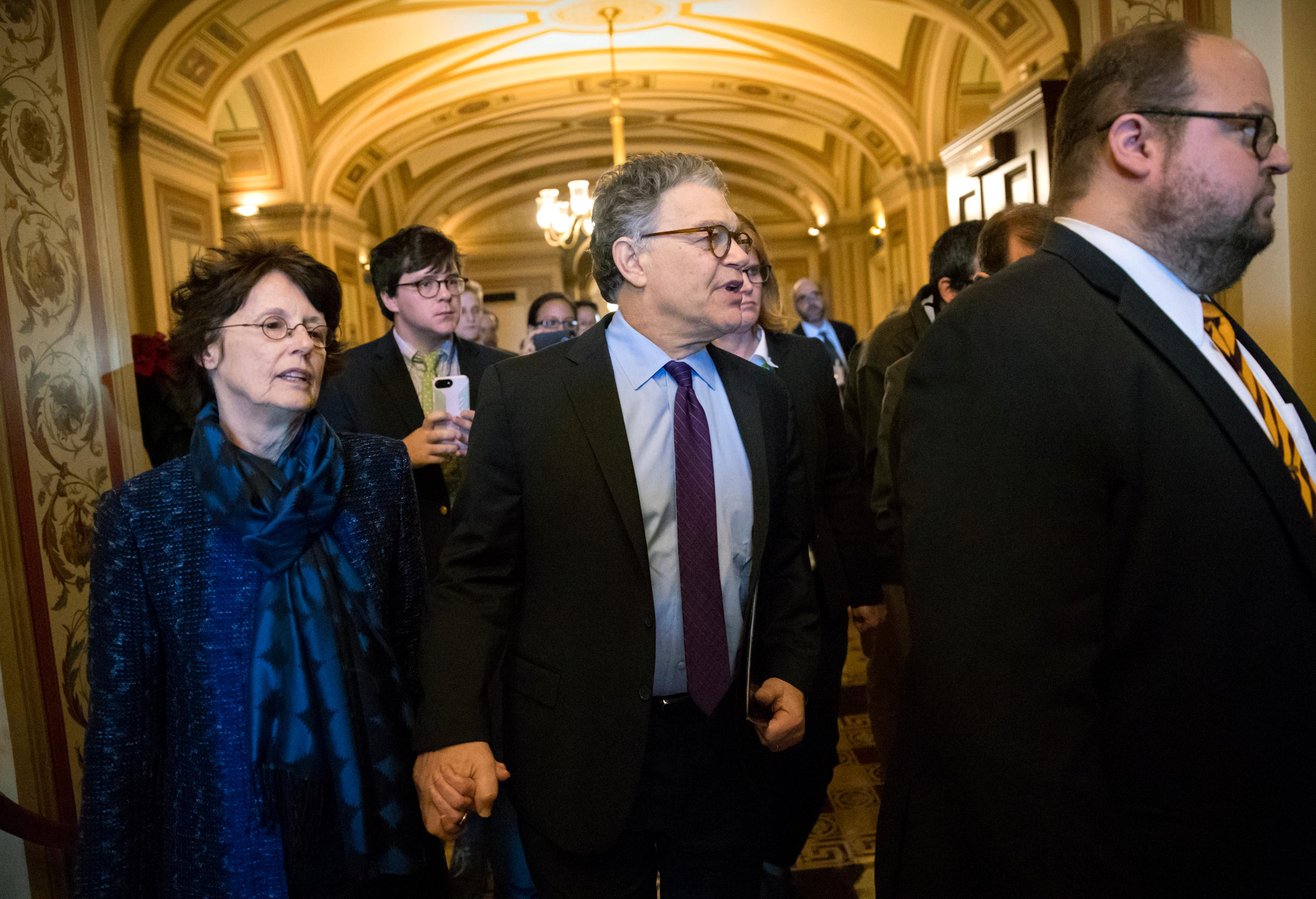 Sen. Al Franken, D-Minn., his wife Franni, arrive at the Senate to make a statement on charges of sexual misconduct, on Capitol Hill in Washington, Thursday, Dec. 7, 2017. (AP Photo/J. Scott Applewhite)
