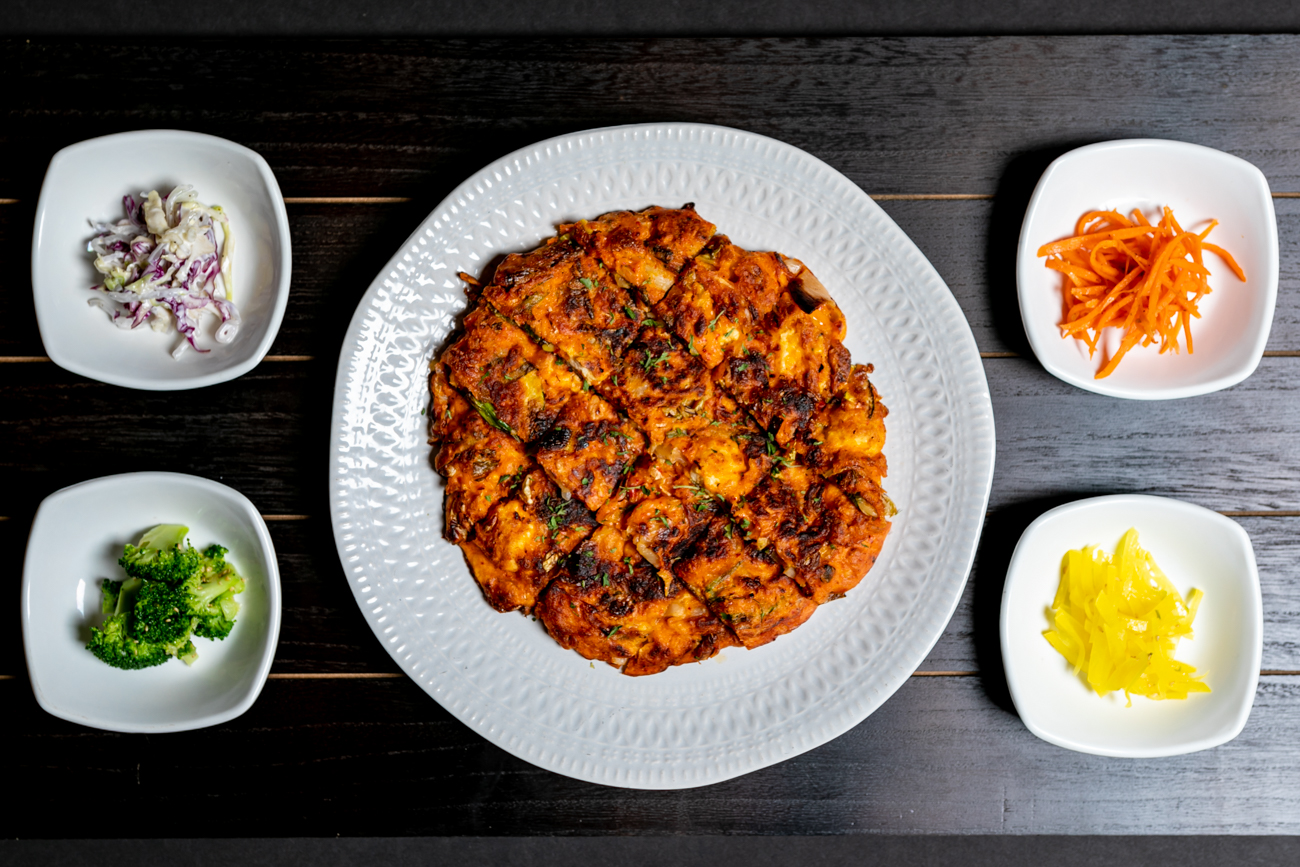 Kimchi Pajon: Korean style pancake with kimchi, scallion, and tofu / Image: Amy Elisabeth Spasoff // Published: 8.31.18